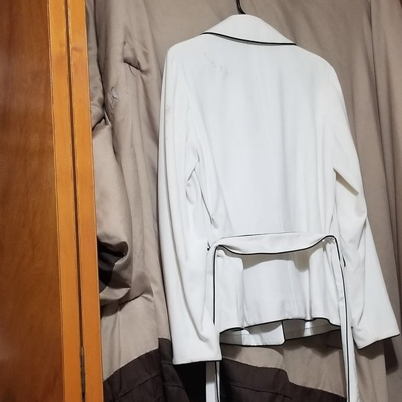 White Suit Jacket with Black Piping